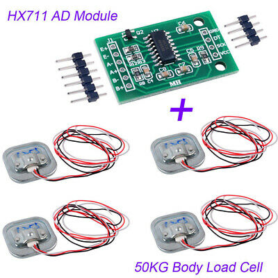 4Pcs 50KG Body Load Cell Resistance Strain Weight Sensor + HX711 AD Modules