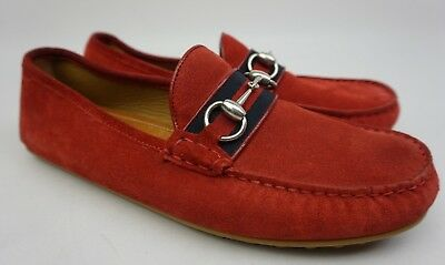 41cd30e572c GUCCI RED SUEDE Driver Damo Driving Men s Shoes Size 7.5 G   8.5 US ...