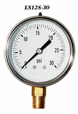 New Hydraulic Liquid Filled Pressure Gauge 0-30 PSI