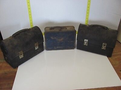 Antique Vintage Lot of Three Black Metal USA Work Lunch Boxes Aladdin