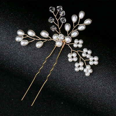 Wedding Bride Pearl Hairpins Beaded Hair Stick Headwear Girls Jewelry Decoration