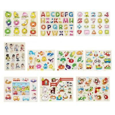 Baby Kids Wooden Animal Letter Puzzle Toys Jigsaw Early Learning Educational Toy