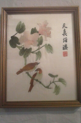 Vintage Chinese Silk Embroidery Art of Birds and Flowers/Signed Silk Art/Framed