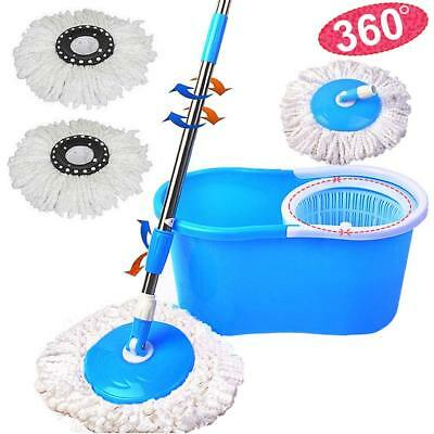 360°Rotating Microfiber Spining Magic Mop Easy Floor Mop W/Bucket 2 Heads