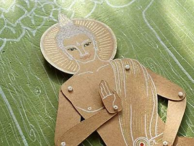 Buddha articulated paper doll, hand painted Buddhism guru paper puppet with