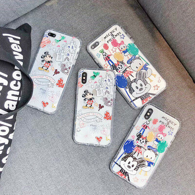 Silicone Graffiti Disney Phone Case Crystal Clear Cover For iPhone X 8 7 6S Plus