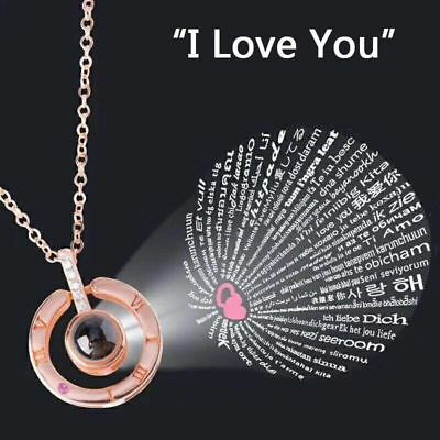 I LOVE YOU in 100 languages Silver Gold Pendant Necklace For Memory LOVE