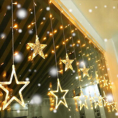 138 LED Star Christmas Curtain Window Fairy Lights Party Outdoor Weeding Display
