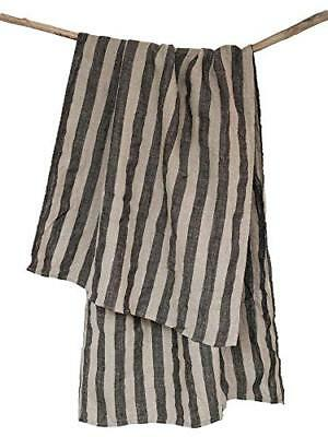 "Huckaback Striped Linen Bath Towel - 26.5"" x 58"" Beach Pool or Sauna 100% Black"