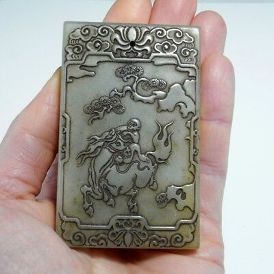 17TH C MONKEY Nephrite Jade Pendant Plaque Carved Antique Chinese Qing Luck