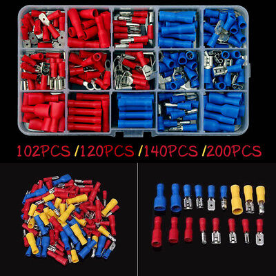 New 200pcs Insulated Spade Electrical Crimp Wire Cable Connector Terminal Kit