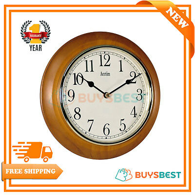 Acctim Antique Pine Maine Wall Clock Gold Colour Bezel With Plastic Lens - 24170