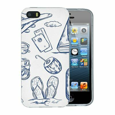 For Apple iPhone 5 5S SE Silicone Case Travel Holiday Pattern - S4750