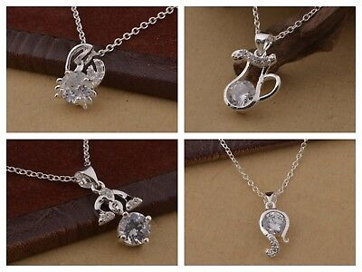 925 Sterling Silver Plated Crystal Zodiac Pendant Necklace + Free Gift Bag.