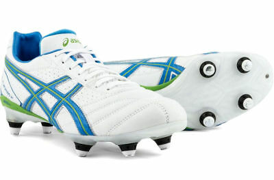New Asics Lethal Flash D2 ST soft ground Rugby boots UK sz10 Wht/Blue/Rave Green