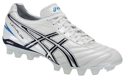 New Asics Lethal DS 3 IT Moulded stud Rugby boots UK sz 8 Pearl White / Navy