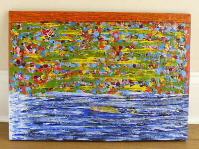 WATERFALL Original Signed Contemporary Abstract Oil Acrylic Painting On Canvas