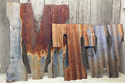 "Rusty Tin Letters Rustic Metal Wall Decor 8"" - 36"" Reclaimed Galvanized Tin"
