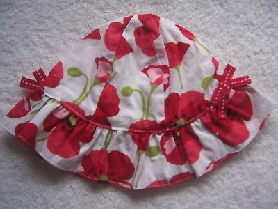 BNWNT Baby Girl's Gymboree Red, Green & White Floral Cotton Hat Size 00