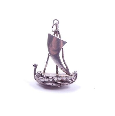 Vintage Charm Viking Boat Ship Opening 925 Sterling Silver 3.4g