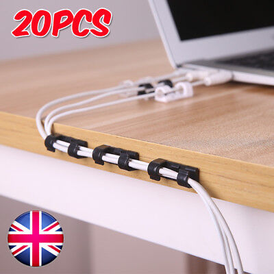 20x Self Adhesive Wire Cable Cord Clip Clamp Table Wall Tidy Organizer Holder UK