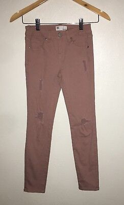 RSQ Tillys Girls Size 7 Dusty Blushed PInk Distressed Skinny Jeans NN