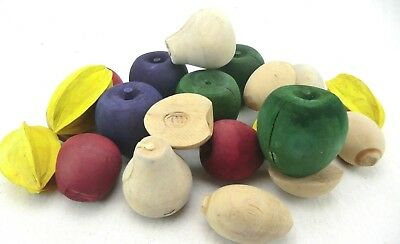 DECORATIVE WONDERFUL SOLID  WOODEN FRUITS, ASSORTED , CRAFTS, DIY FREE P&p
