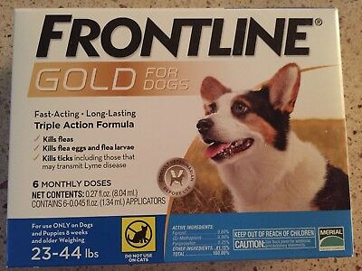 Frontline Gold For Dogs 23-44 Lbs 6Pack Epa Approved Sealed Box
