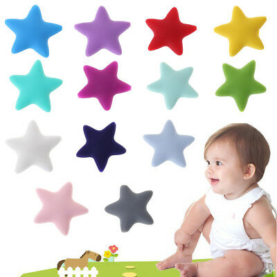 10 Pcs/Set Silicone Beads Star Shape Baby Teether Teething Toy DIY Necklace Safe