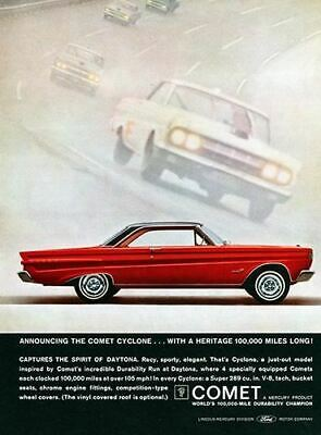 1965 Ford Mercury Comet Cyclone #6 Vintage Car Poster Print Wall Art Sign Auto