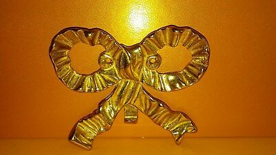 Vintage Solid Brass Ornate Ribbon Style Bow Tie Golden Hook Wall Decoration