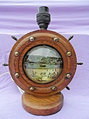 Vintage Wooden Ships Wheel Table Lamp With Glass Dome Beach Scene Rewired Gwo