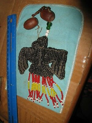 Beaded Eagle Umbilical Fetish With Pecan Rattle