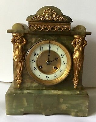 Beautiful antique large French chiming mantle clock - marble with ormolu mounts