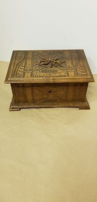 Black forest carved edelweiss box