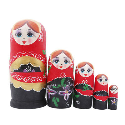 Russian Traditional Nesting Doll w/ Floral Pattern Hand Painted in Russia 5Pcs H