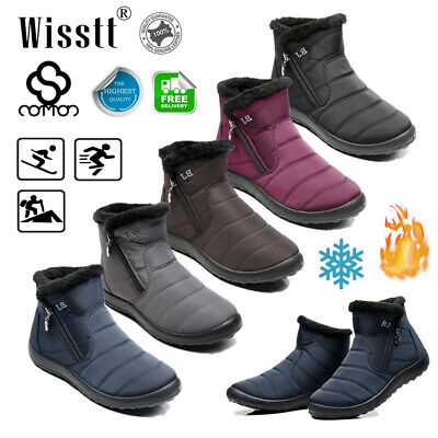 UK Women's Men's Slip On Ankle Warm Lined Snow Boots Fur Flat Winter Shoes Sizes