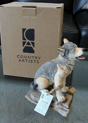 "Country Artists Natural World ""New Wolf Cub Yawning"" Figurine - Retired- NIB"