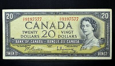 1954 $20 Bank Of Canada Note ✪ Vf Very Fine ✪ P-80-B L@@k Now ◢Trusted◣