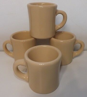 Vintage Set of 4 Restaurant Ware VICTOR Hard to find Tan HEAVY Coffee Mugs Cups