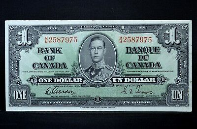1937 $1 Bank Of Canada Note ✪ Au Almost Uncirculated ✪ P-58-D L@@k Now ◢Trusted◣