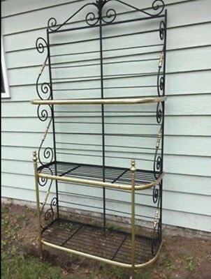 Vintage French Bakers Rack Solid Wrought Iron with Solid Brass Trim