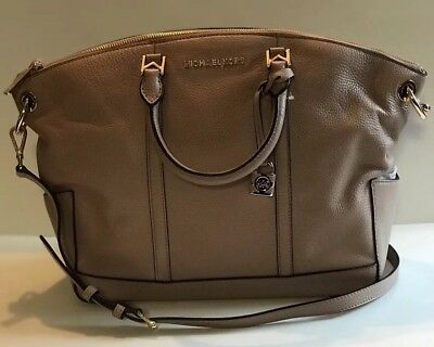 817b203e78 Michael Kors Beckett Large Tip Zip Leather Satchel FAWN  368 BRAND NEW WITH  TAG