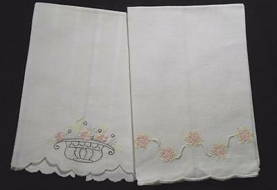 2 Vintage Linen Huck Guest Hand Towels Hand Done Embroidery In Pale Pinks