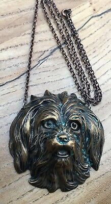Unusual Late 19th Century Brass Pendant and Chain in the form of a Pekingese Dog