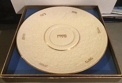The Seder Plate By Lenox Ivory & Gold Jewish Museum Passover 12.75 Judaica NEW