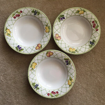 Set of Three (3) Mikasa Optima FRUIT RAPTURE Soup Bowls Pattern Y4001