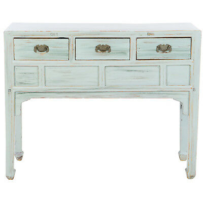 "Antique Chinese 3 drawer Pale Aqua Blue Side Table 42"" Long, 15"" Deep, 34"" Tall"