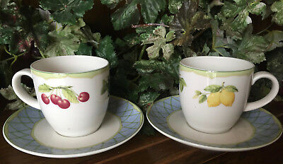 TWO SETS Mikasa Optima Fruit Rapture Tea Cups With Saucers Fine China