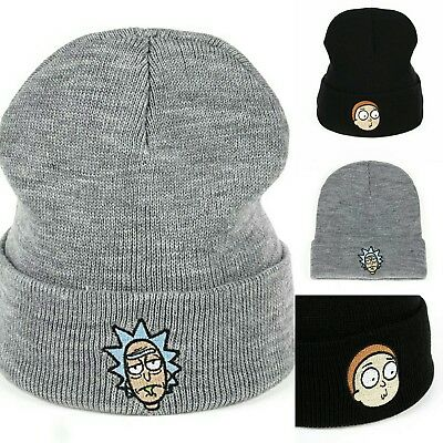 f68b993e60214 Brand new rick and morty hat beanie knitted skully unisex grey black ONE  SIZE x2